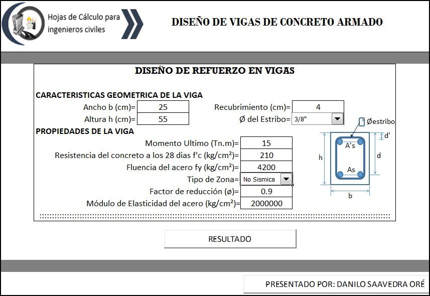 Excel para Diseño de Acero de Refuerzo de una Viga (Concreto Armado)