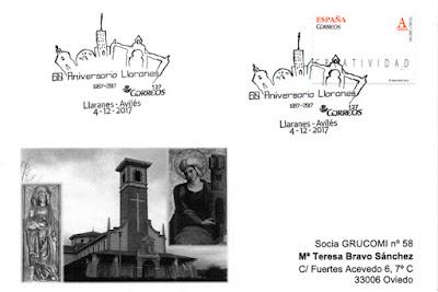 Tarjeta del matasellos del 60 aniversario del poblado de Llaranes (Avilés)