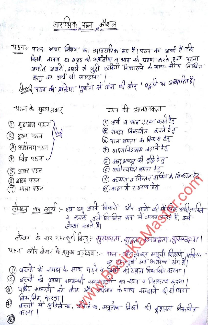 शिक्षण कौशल hand written notes - 9 (आरम्भिक पठन कौशल  - 1)