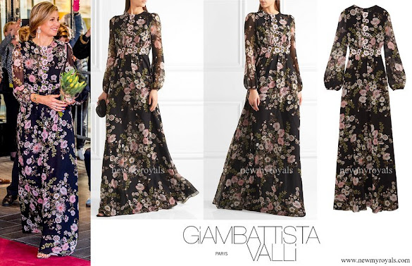 Queen Maxima wore GIAMBATTISTA VALLI Appliquéd floral print silk georgette gown