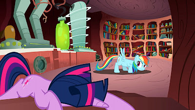 Rainbow and Twilight in the latter's lab
