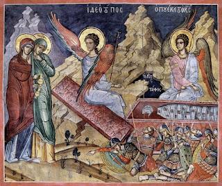 τοιχογραφία στην Ι.Μ. Διονυσίου Αγίου Όρους  με δύο Αγγέλους και στρατιώτες που κοιμούνται