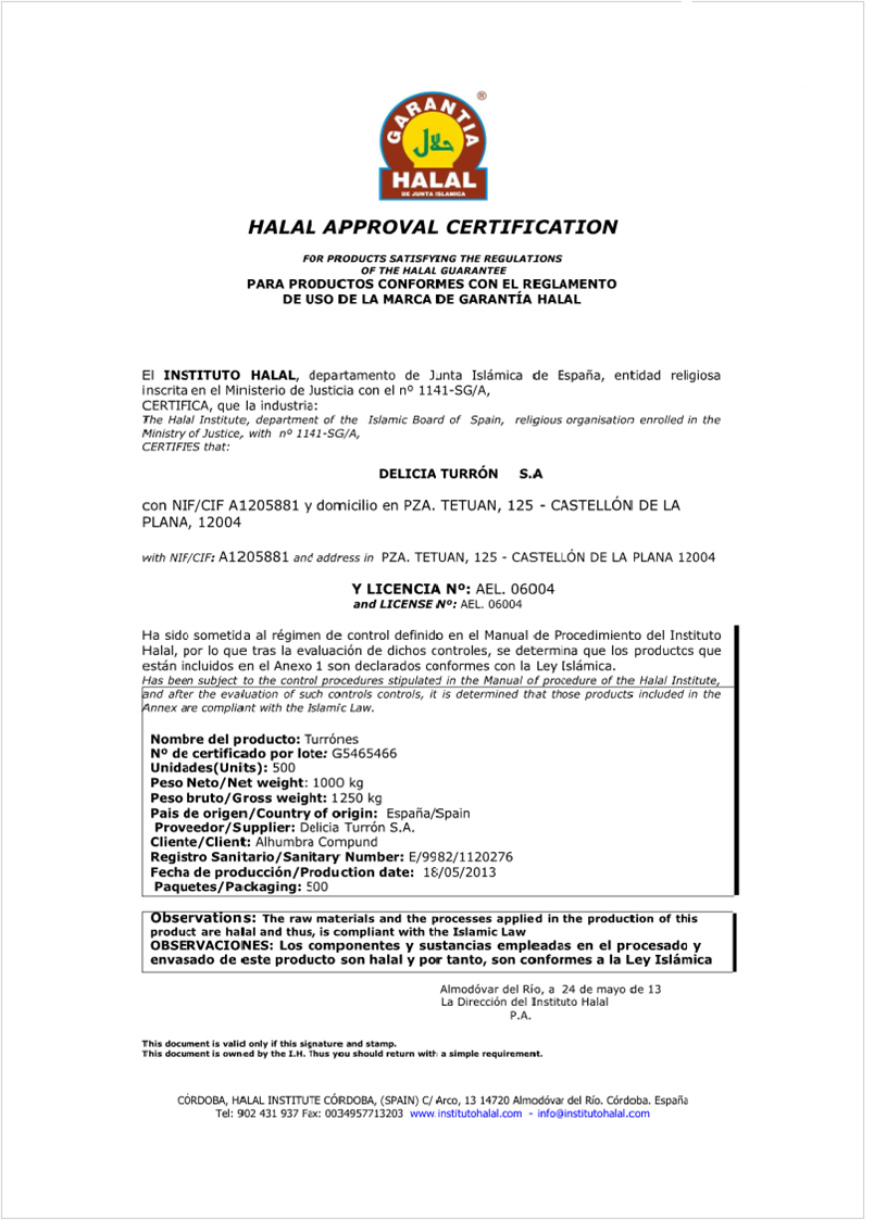 export arabia  certificado halal