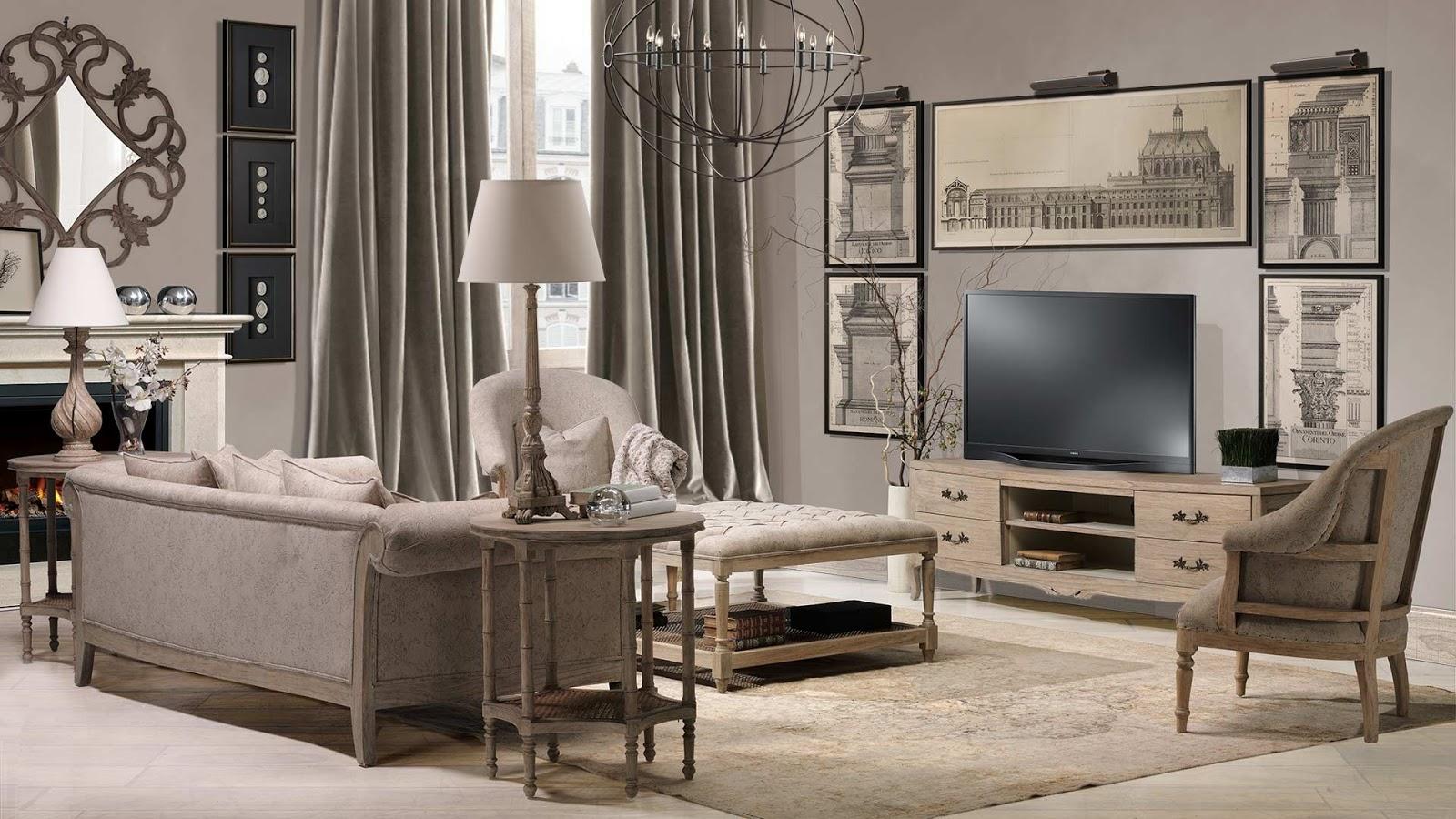 Muebles de sal n sof s y sillones de estilo cl sico con tapizado en rubio lino tostado - Salones retro ...