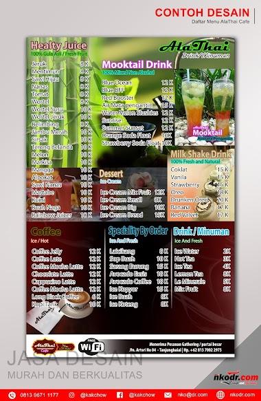 Contoh Desain List Menu / Buku Menu/ Daftar Menu Minuman AlaThai Cafe | Desain Buku Menu Murah Berkualitas