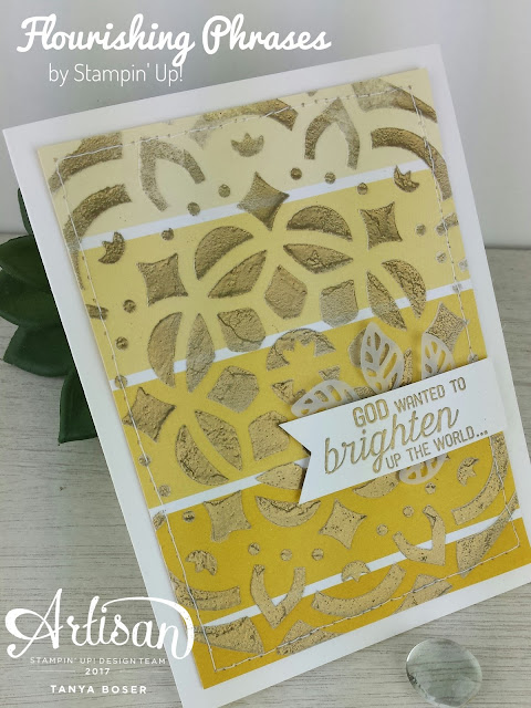 Gilded Embossing Paste! Using the Pattern Party masks, embossing paste, and gold embossing powder on Color Theory designer series paper by Stampin' Up! -Tanya Boser, Stampin' Up! demonstrator. tinkerin-in-ink.blogspot.com