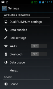 membuat android jadi modem : klik wireless and network