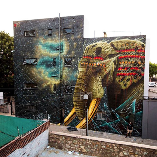 Safari Fusion blog >< African street art | Elephant mural by Sonny at Park Corner Johannesburg, South Africa