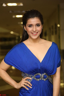Mannara Chopra in Short Blue Dress at Rogue Movie Teaser Launch 1st March 2017 110.JPG