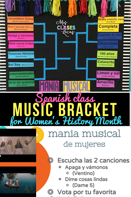 Mania musical de mujeres - March Music Madness in Spanish class