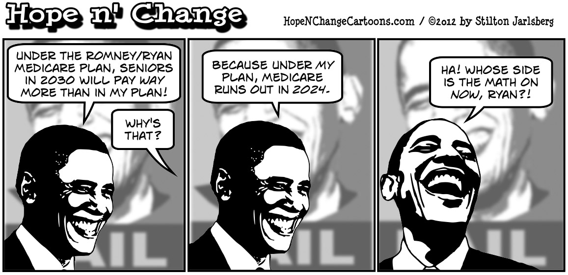 Obama attacks Romney on the price of Medicare in 2030, hopenchange, hope and change, hope n' change, stilton jarlsberg, election, obama jokes, conservative, tea party