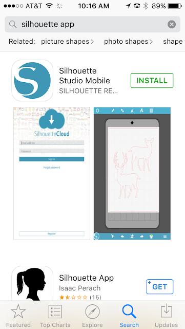 Silhouette Studio mobile, app store