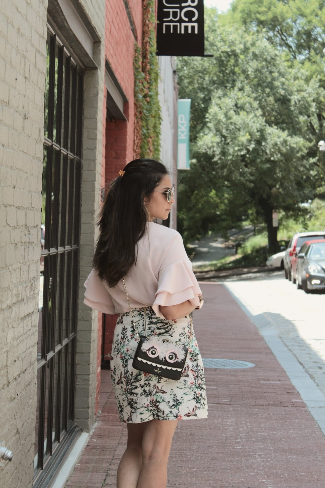 things to do in georgetown Dc, DC blogger, printed a line summer skirt, ruffle sleeve top , zara pink blouse , street style, casual white sneakers, myriad musings