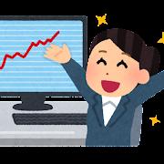 パソコンでチャートを見る女性のイラスト(上昇)