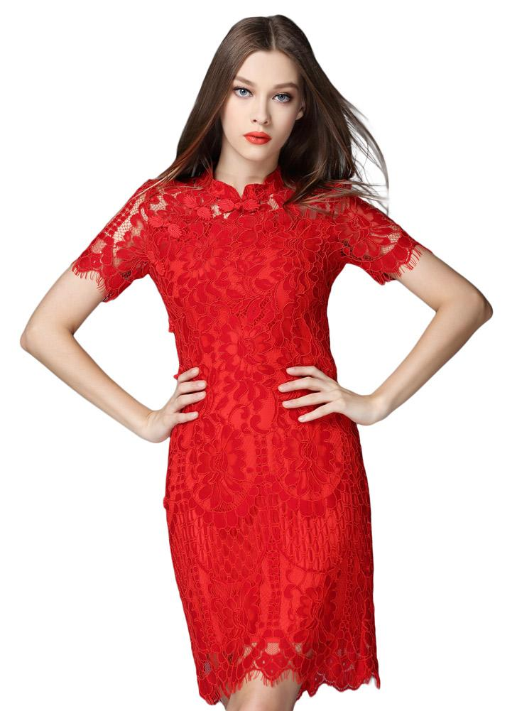 Lace red sleeves dress