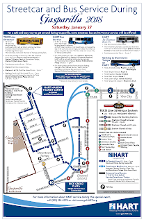 Map of HART and TECO Line Streetcar Gasparilla service