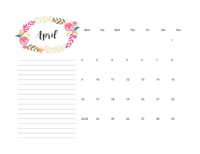 Floral Design April 2018 Calendar with Monday as the first day of the week