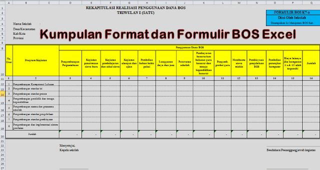 Kumpulan Format dan Formulir BOS Excel