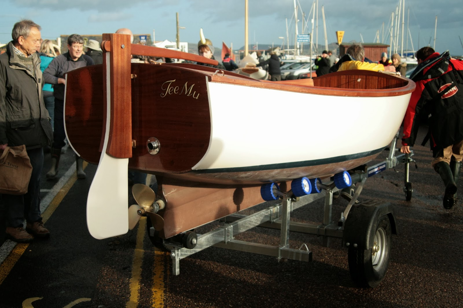 ... over a base layer of strip planking to create the shape of this hull