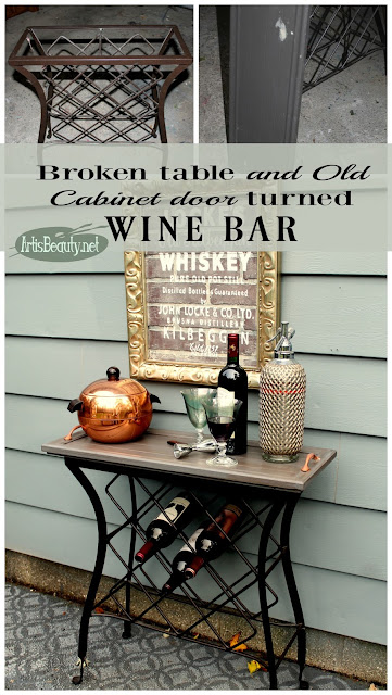 wine bar from old table and salvaged cupboard cabinet door diy karin chudy artisbeauty.net
