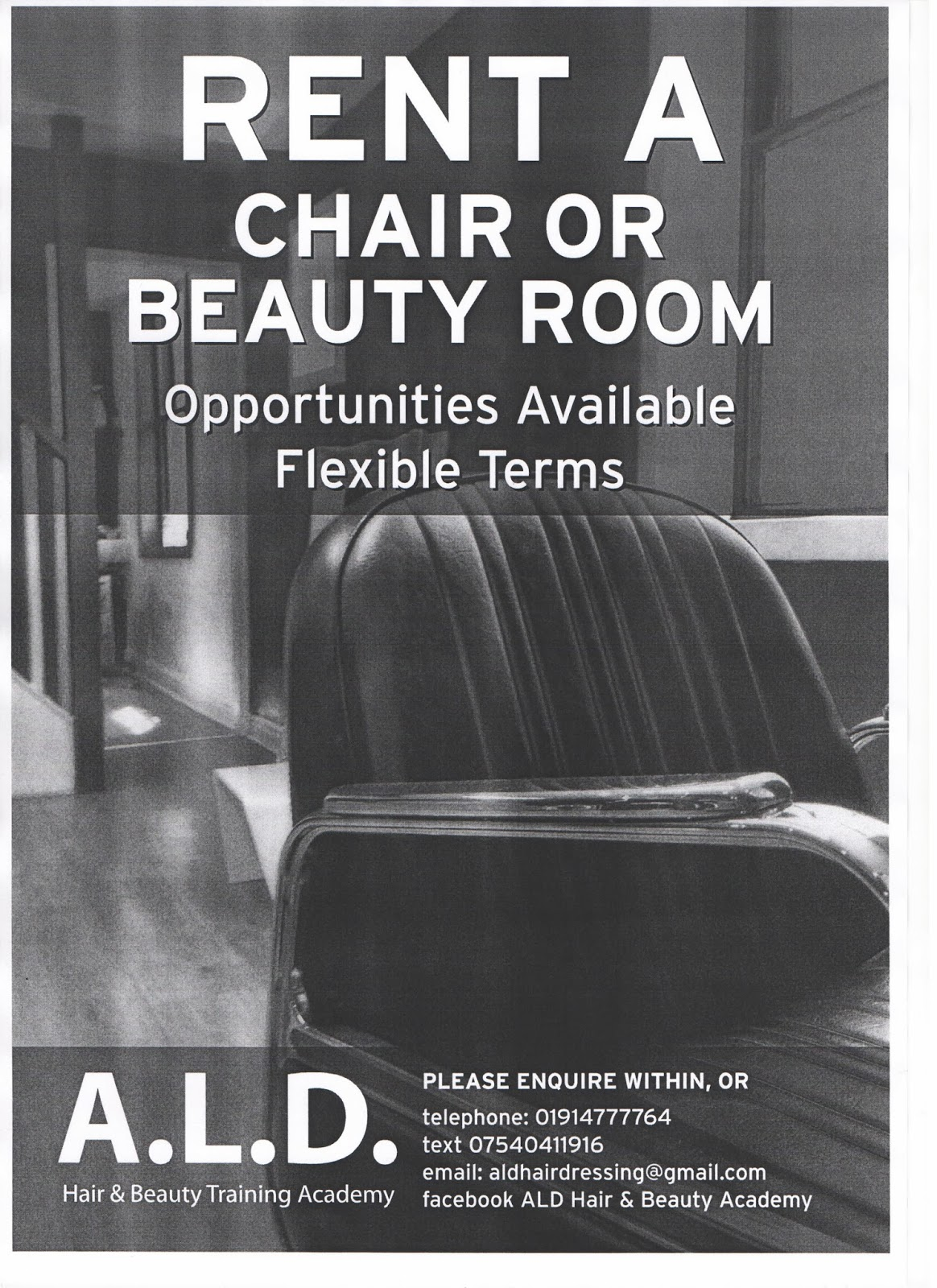 ALD Hair Beauty and Barbering Rent a Chair or Beauty