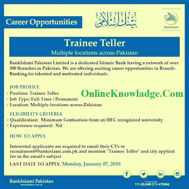 Bank Islami jobs 2019 For Trainee Teller | Online Registration  bank islami jobs 2019  bank islami branches  islamic banking jobs for freshers  islamic bank jobs 2019  www.bankislami.com.pk uhsmdcat2019  Bank Islami jobs 2019 For Trainee Teller