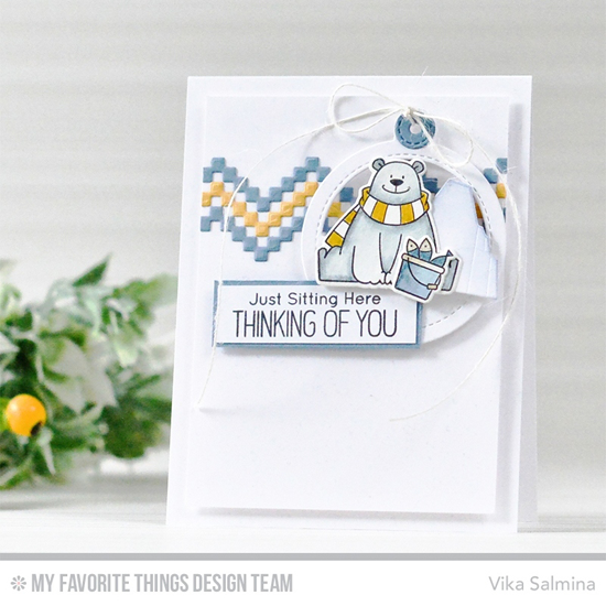 Handmade card from Vika Salmina featuring Birdie Brown Polar Bear Pals stamp set and Die-namics, Stepped Up Chevron and Tag Builder Blueprints 6 Die-namics #mftstamps