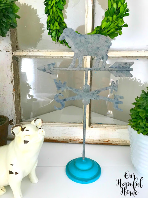 sheep weathervane blue base chippy pig mantel decor