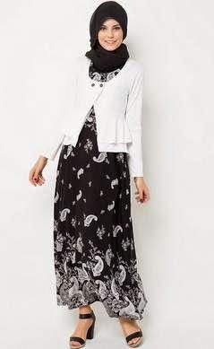 Contoh model baju batik muslim untuk kerja