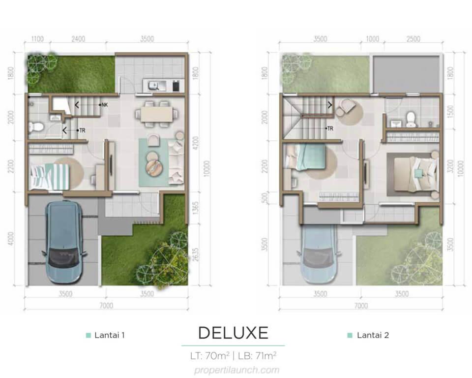 Denah Rumah Harumi Homes Tipe Sakura Deluxe
