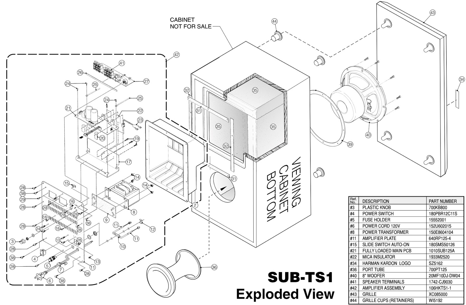 harman kardon sub-ts1  u2013 amplifier sub-woofer  u2013 schematic  u2013 exploded view