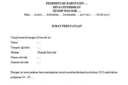 Surat Pernyataan Tentang Pemberlakuan Kurikulum 2013