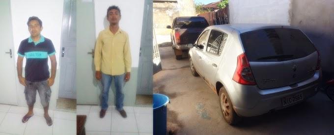 Dupla de estelionatários se passa por oficiais de justiça e levam Toyot Hilux de vitima em Santa Quitéria, os dois foram presos pela PM.