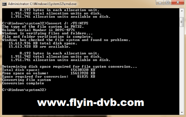 Menjalankan proses convert FAT32 ke NTFS