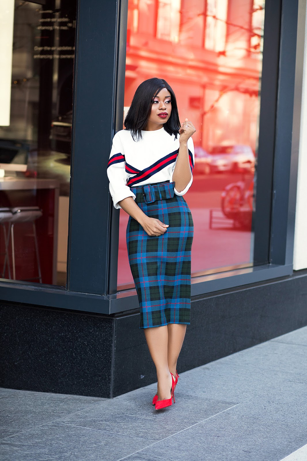 checkered skirt, www.jadore-fashion,com