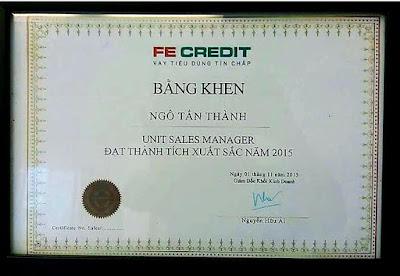 Thành tích cao Top 3/100 Unit Sales Manager cả nước dự án Vpbank Fecredit 2015