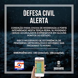Defesa Civil Estadual alerta para acumulado de chuvas em todo o Estado