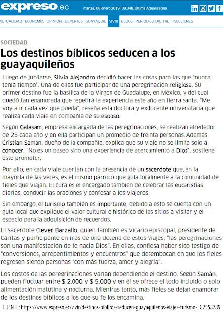 Artículo sobre las Peregrinaciones en Diario Expreso