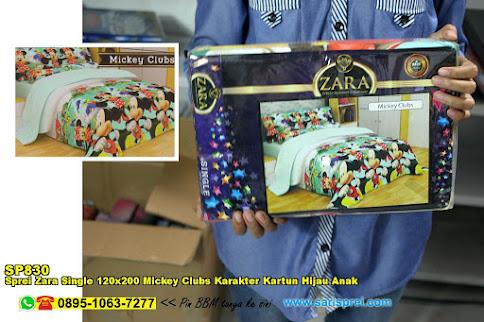 Sprei Zara Single 120x200 Mickey Clubs Karakter Kartun Hijau Anak