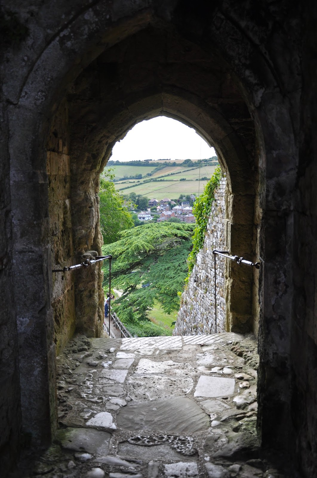 Looking down the keep, Carisbrook Castle, Isle of Wight, UK