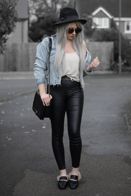 Sammi Jackson - Primark Fedora / Zaful Sunglasses / Primark Denim Jacket / Topshop Cami / Primark Jeans / Choies Double Buckled Belt / OASAP Quilted Flap Bag / Fashion 71 Fur Slippers