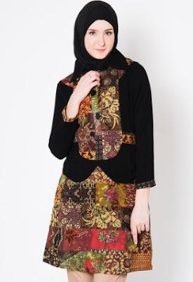 Dress batik modern hijab untuk remaja wanita trendy