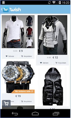 WISH - APP ANDROID PER FARE SHOPPING NEL WEB DIVERTENDOSI