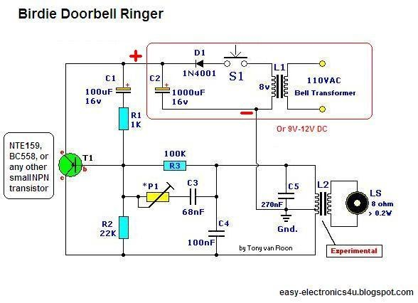Birdie electronic Doorbell ringer (one transistor) ~ Easy Electronics