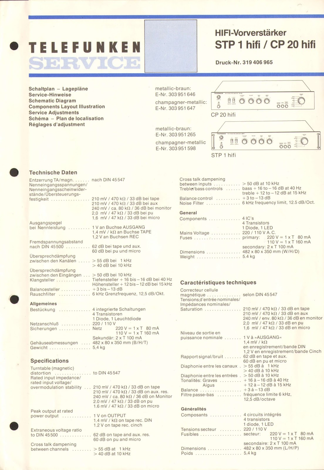 Tv, Video & Audio Original Service Manual Telefunken Hs 970