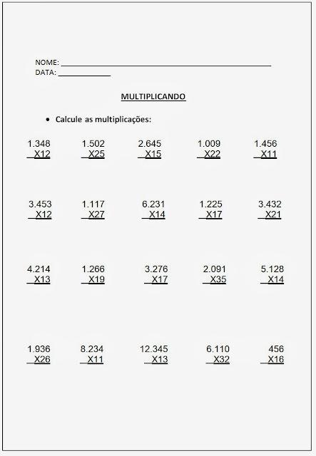 Altividades de Multiplicação - Atividades de Multiplicação 5º ano parte I