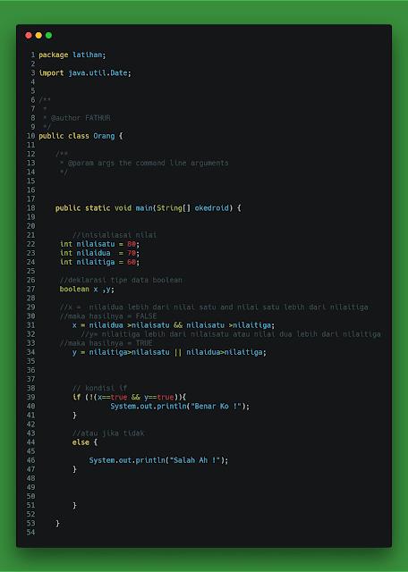 Contoh Operator Logika Java