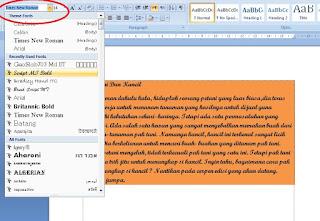 Pengaturan Hufur Dan Fungsi Dasar Microsoft Word 2007