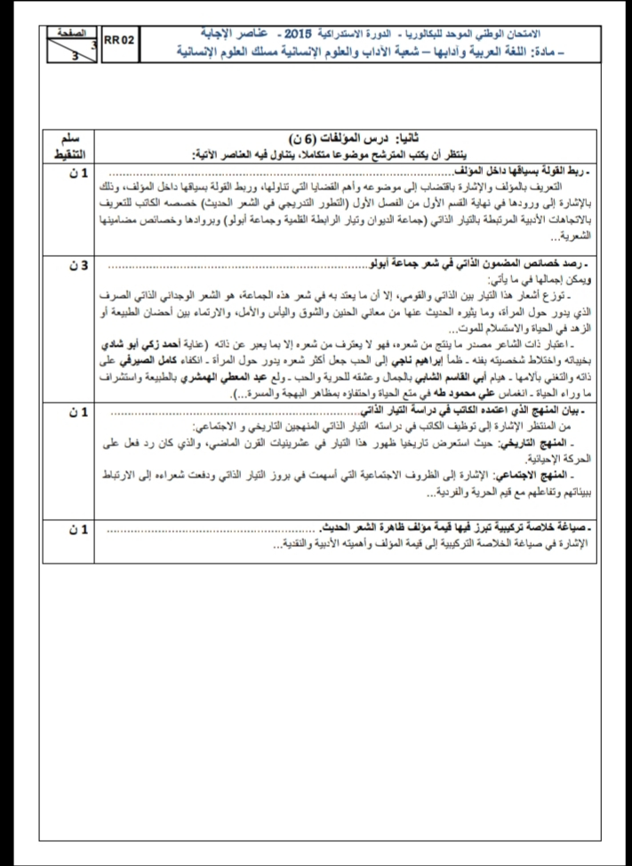 الامتحان الوطني الموحد للباكالوريا، مادة اللغة العربية، مسلك العلوم الإنسانية / الدورة الاستدراكية 2015