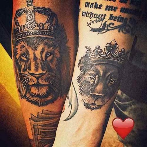 Kral kraliçe aslan sevgili dövmesi